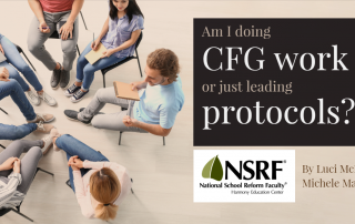 """Group of young adults sitting in a circle, seen from overhead, some with notebooks. Headline: Am I doing CFG work or just leading protocols?"""" By Luci McKean and Michele Mattoon"""