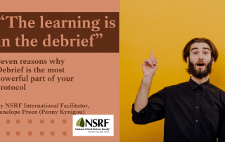 """Bearded man in turtleneck sweater pointing to sky with """"aha"""" look on his face. Headline: """"The learning is in the debrief: 7 Reasons why Debrief is the most important part of your protocol"""""""